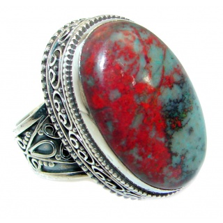Perfect Sonora Jasper .925 Sterling Silver handcrafted Ring size 6 1/2