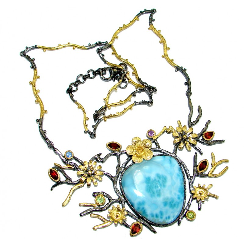 One of the kind Nature inspired Sublime Larimar Gold Rhodium over .925 Sterling Silver handmade necklace