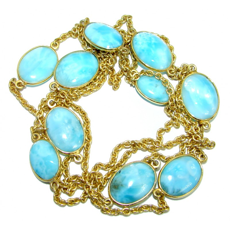 36 inches Genuine Larimar Stones Gold plated over .925 Sterling Silver handcrafted Necklace