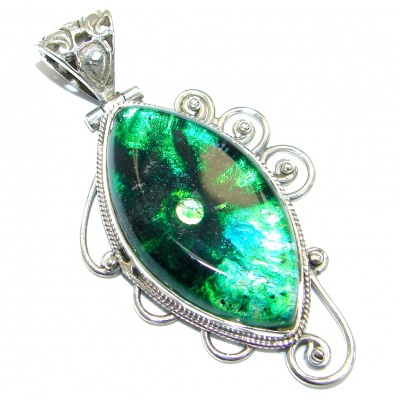 Huge Mexican Dichroic Glass .925 Sterling Silver handmade Pendant
