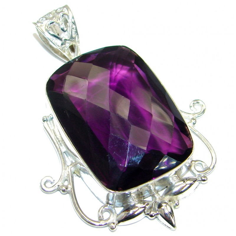 Huge purple Quartz .925 Sterling Silver handmade Pendant