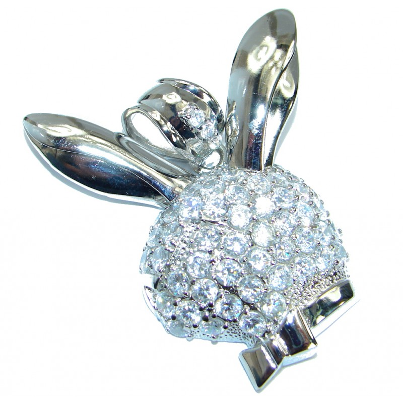 Large Bunny Silver Tone pendant