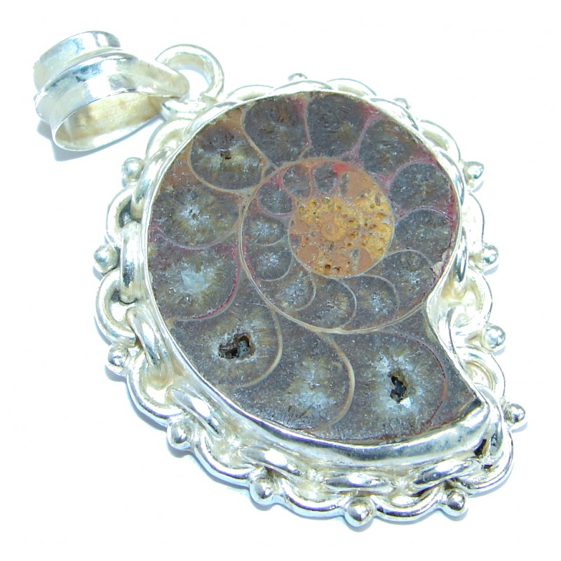 Excellent Brown Ammonite Silver Tone Pendant