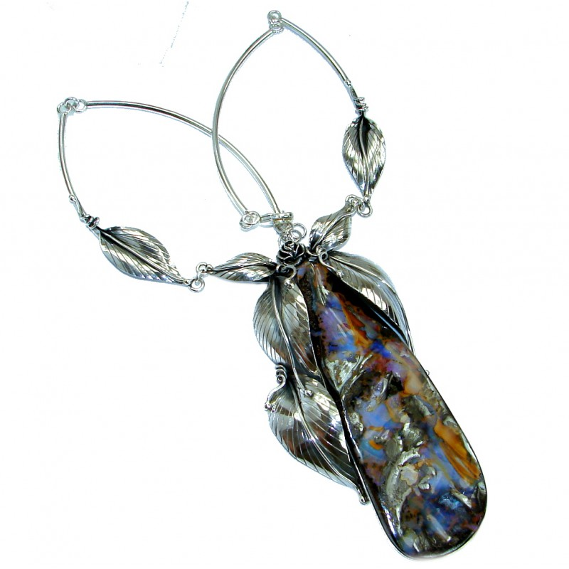 Large 4 5/8 inches genuine Australian Boulder Opal .925 Sterling Silver brilliantly handcrafted necklace