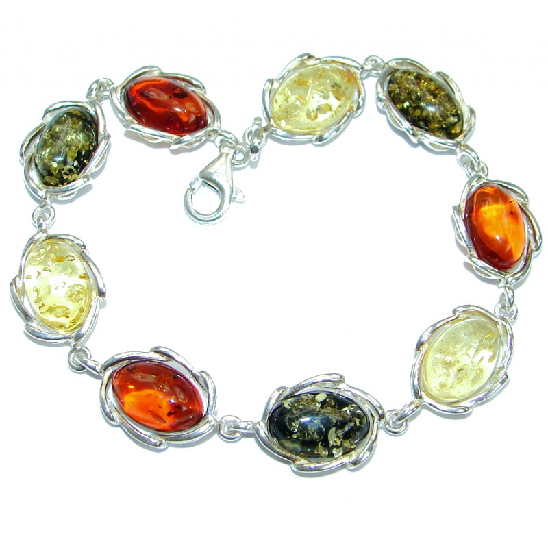 Beautiful Baltic Polish Amber .925 Sterling Silver handcrafted Bracelet