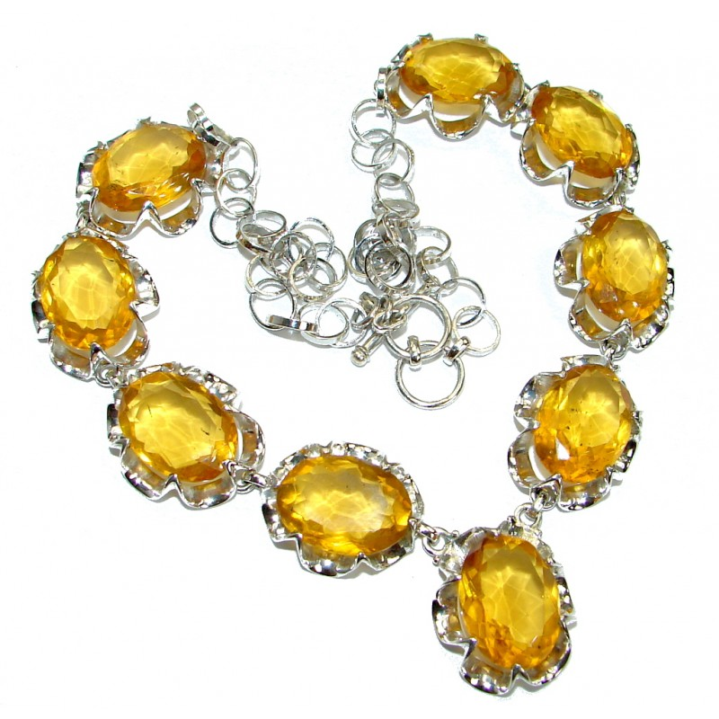 Bohemian Style One of the kind Yellow Quartz Sterling Silver handmade necklace