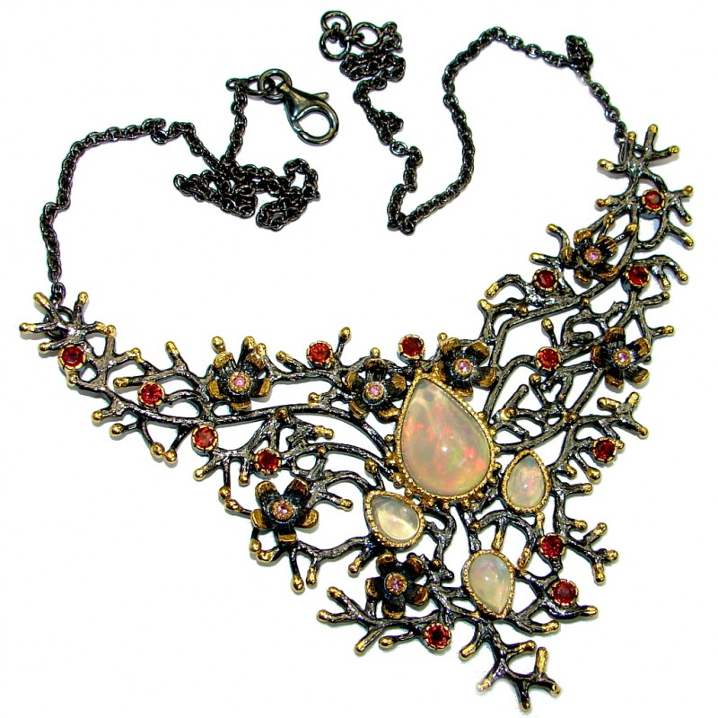 Authentic Pink Ethiopian Opal Tourmaline Gold Rhodium plated over Sterling Silver handmade necklace