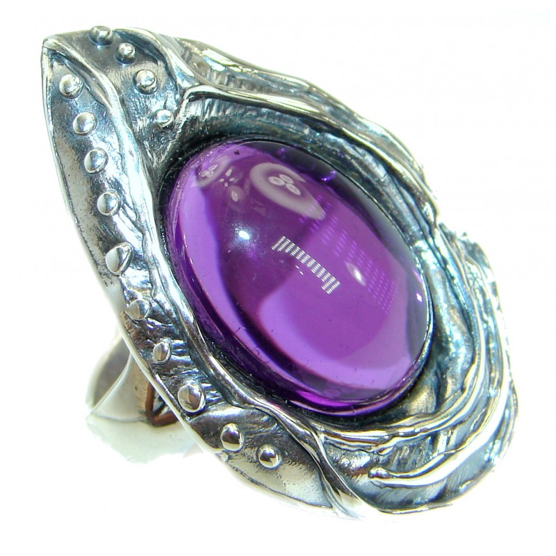 Huge Authentic Amethyst .925 Sterling Silver handmade Ring size 7 adjustable