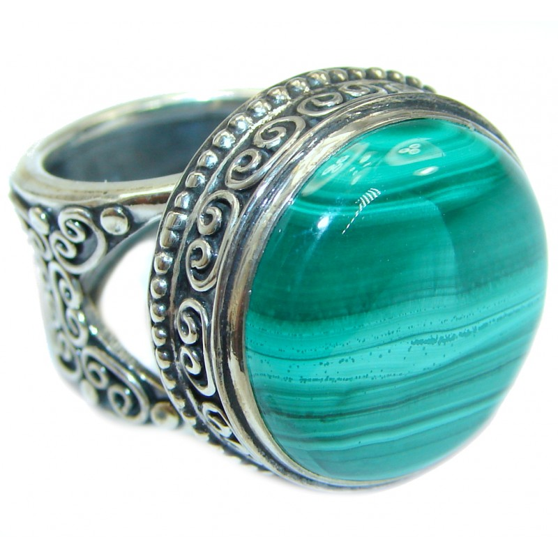 Natural BEST quality Malachite .925 Sterling Silver handcrafted ring size 7 adjustable