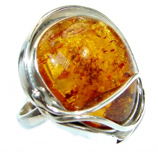 Genuine Baltic Amber Sterling Silver handmade Statment Ring size 9