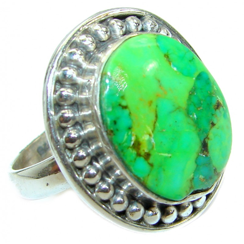Green Turquoise .925 Sterling Silver handmade Ring s. 9 1/2