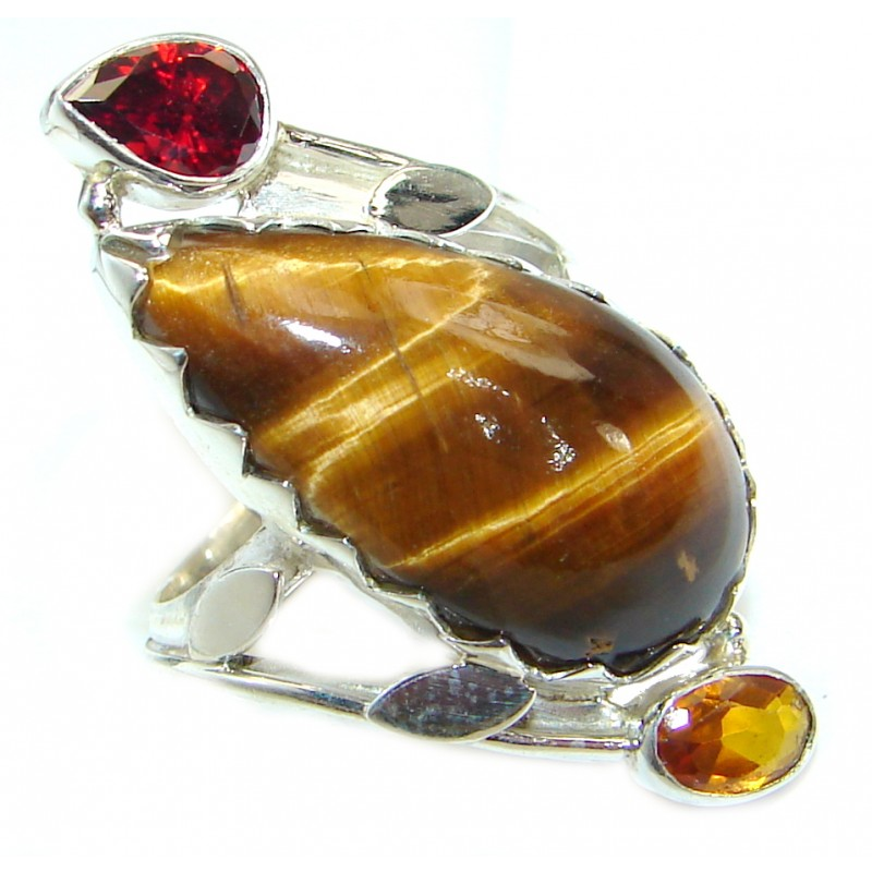 Huge Bold Golden Tigers Eye .925 Sterling Silver handmade ring s. 7