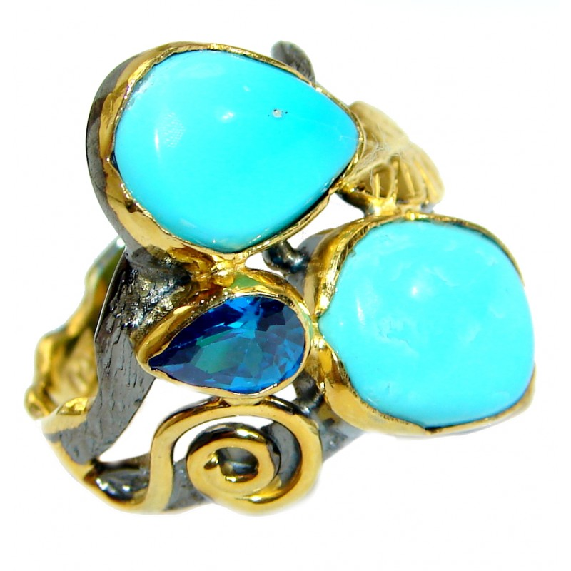 Sleeping Beauty Turquoise Gold over .925 Sterling Silver Ring size 7 3/4