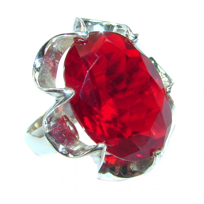 Authentic red Quartz .925 Sterling Silver handmade Ring size 7
