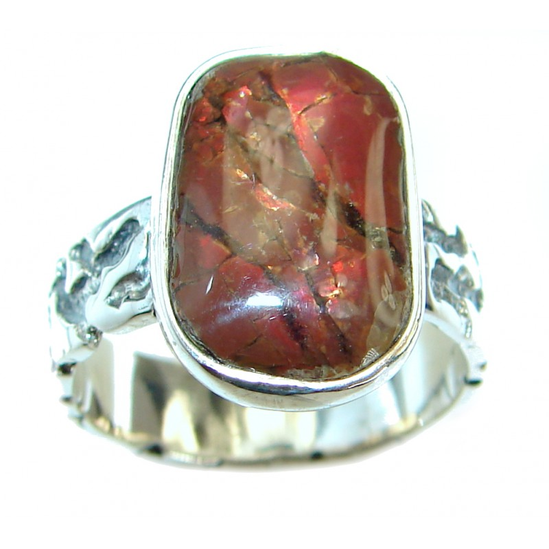 Pure Energy Fire Genuine Canadian Ammolite .925 Sterling Silver handmade ring s. 8