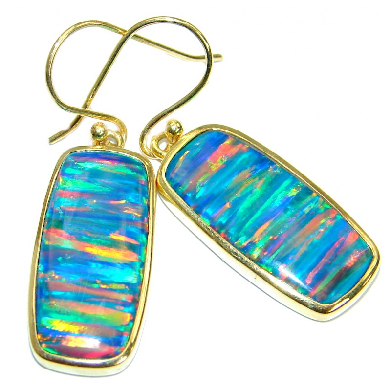 Stylish Japanese Opal Gold over .925 Sterling Silver handmade earrings