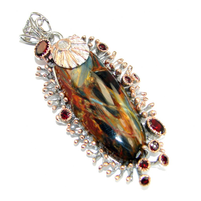 Genuine Golden Pietersite Rose Gold over .925 Sterling Silver handmade pendant