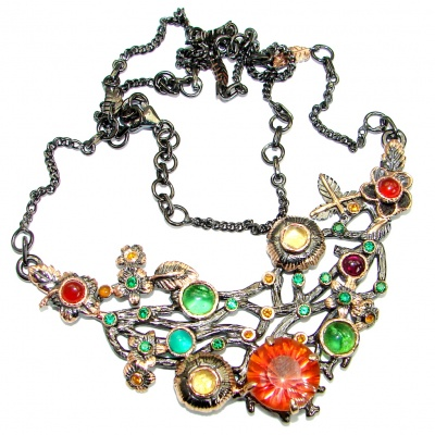 Magic Reef Rainbow Topaz Rose Gold Rhodium over .925 Sterling Silver handmade necklace