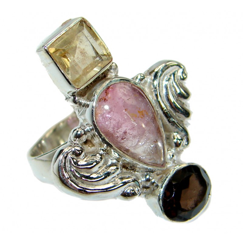 Cherry Quartz .925 Sterling Silver handcrafted ring size 6