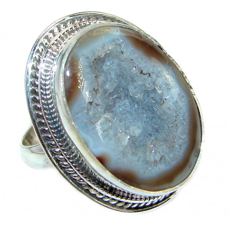 Good Energy Druzy Agate Sterling Silver Ring s. 8