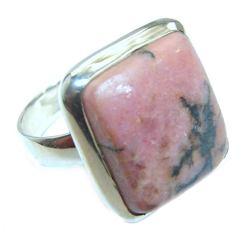 Authentic Rhodonite .925 Sterling Silver handmade Ring s. 8