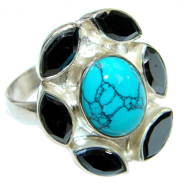 Authentic Turquoise Sterling Silver handmade Ring s. 8 1/4