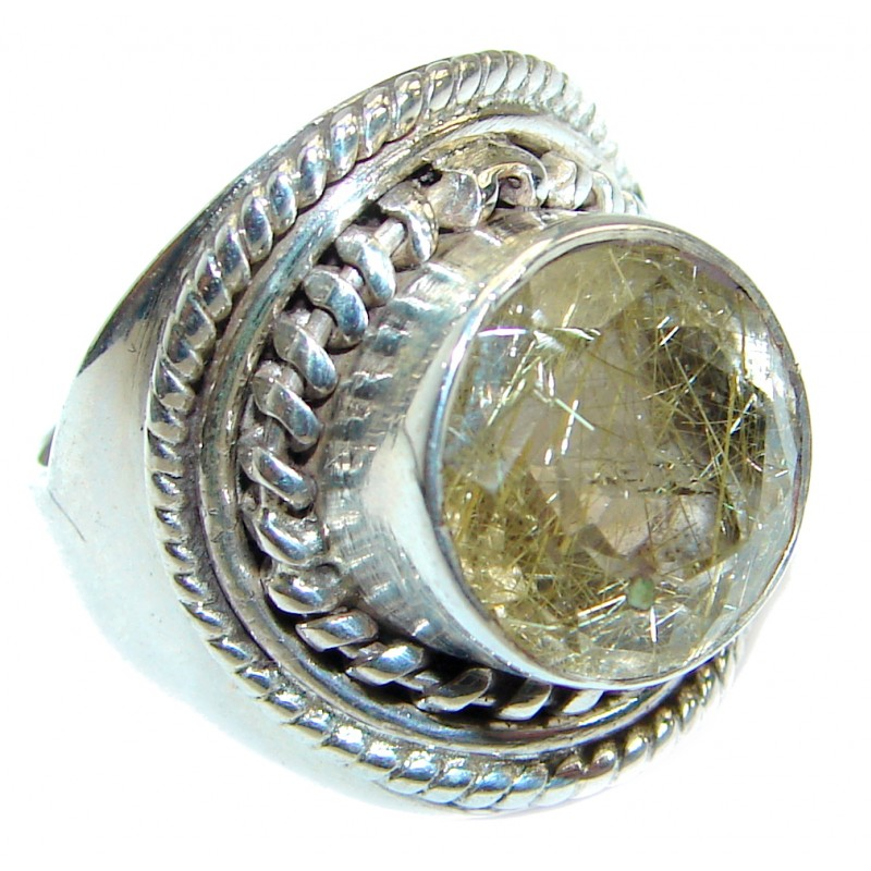 Authentic Rutilated Quartz .925 Sterling Silver handmade Ring s. 6