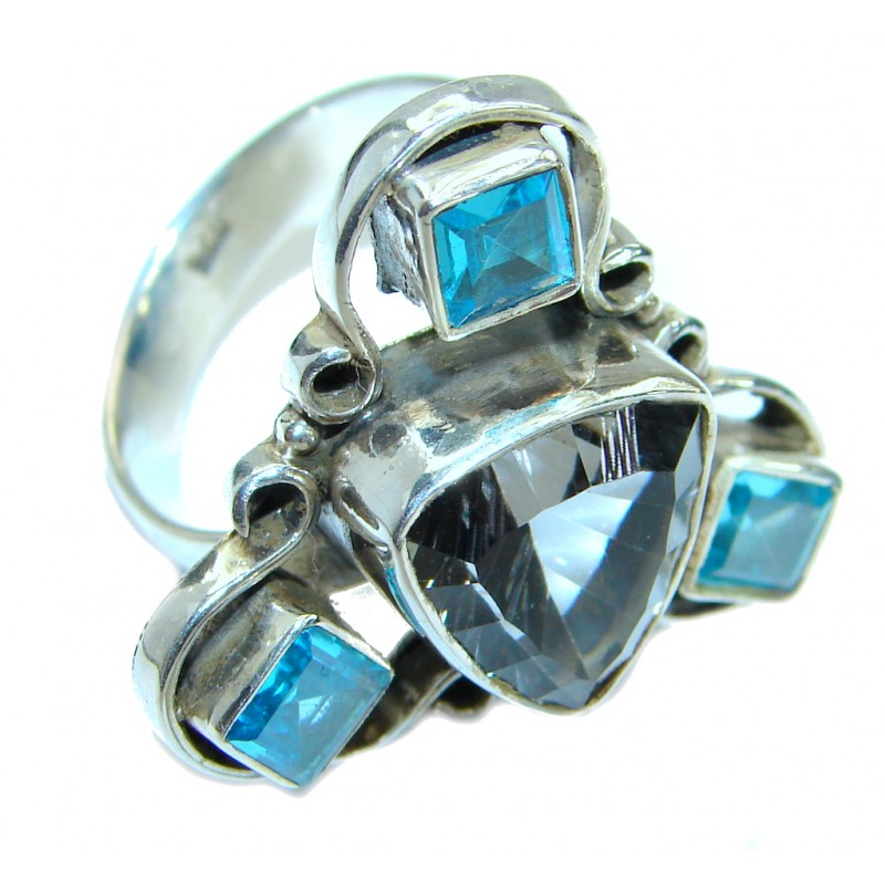 Magic Cubic Zirconia .925 Sterling Silver handmade Ring s. 9 1/4