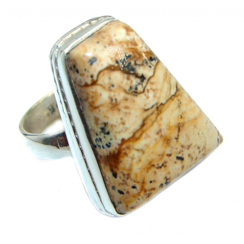 Authentic Picture Jasper Sterling Silver handmade Ring s. 5