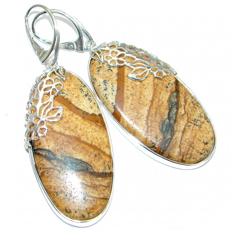 Behemian Style one of the kind Picture Jasper .925 Sterling Silver earrings