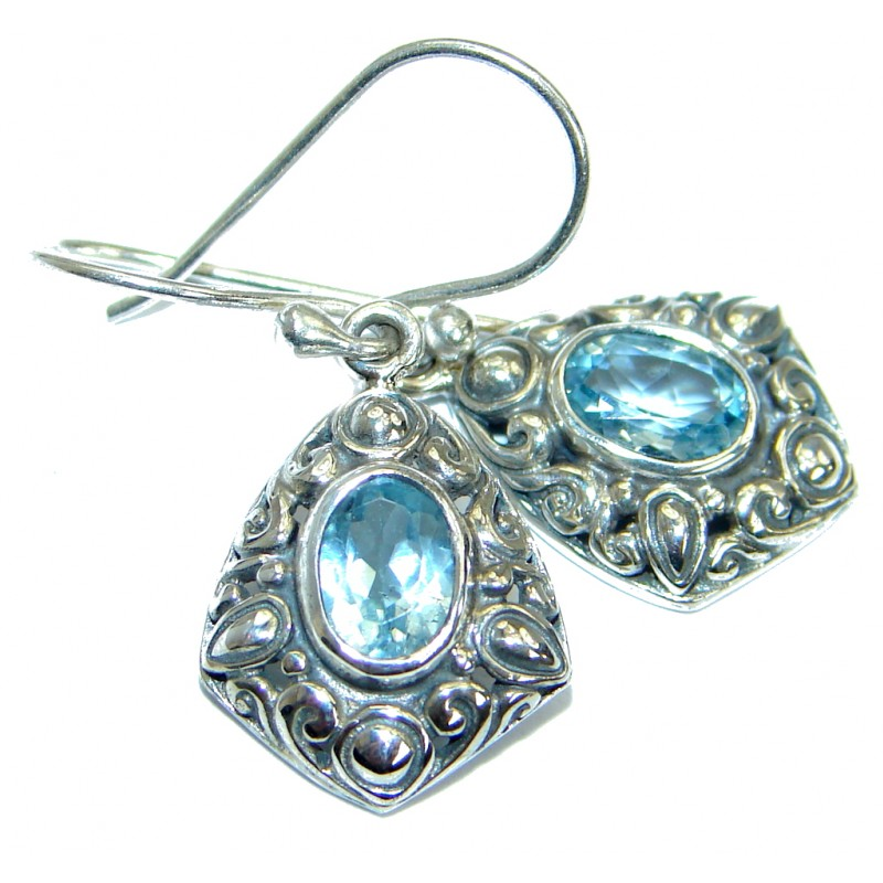 Rich Design Authentic Swiss Blue Topaz .925 Sterling Silver earrings