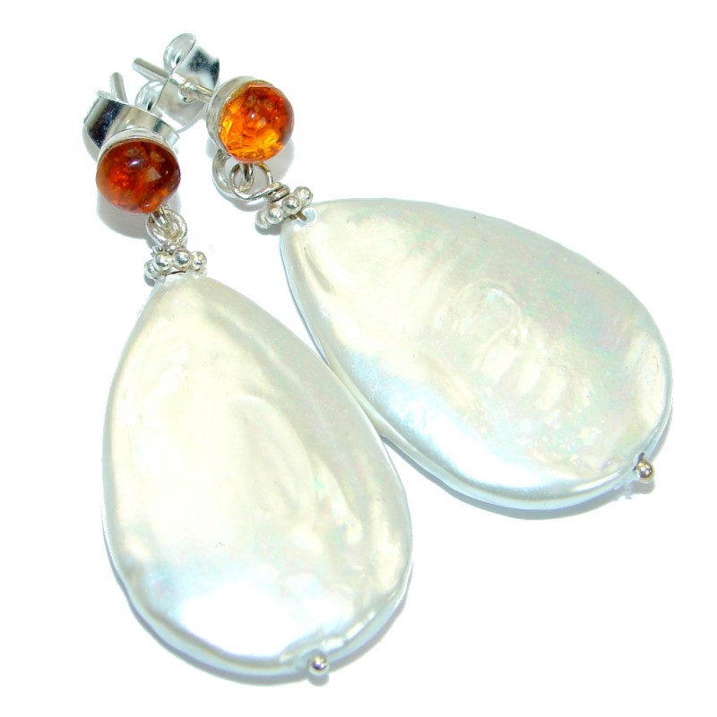 Blister Pearl Amber .925 Sterling Silver handmade earrings