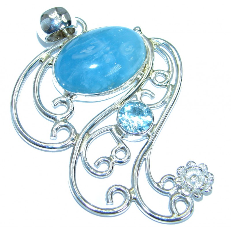 Large Genuine Aquamarine Swiss Blue Topaz .925 Sterling Silver handmade Pendant