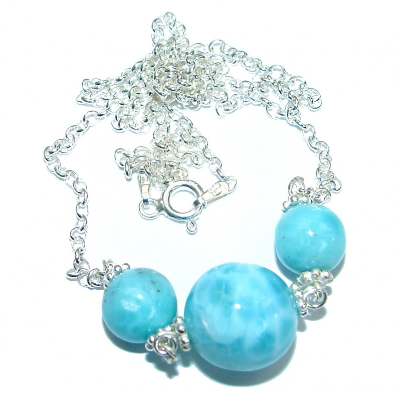 Nature inspired Sublime Larimar .925 Sterling Silver handmade necklace