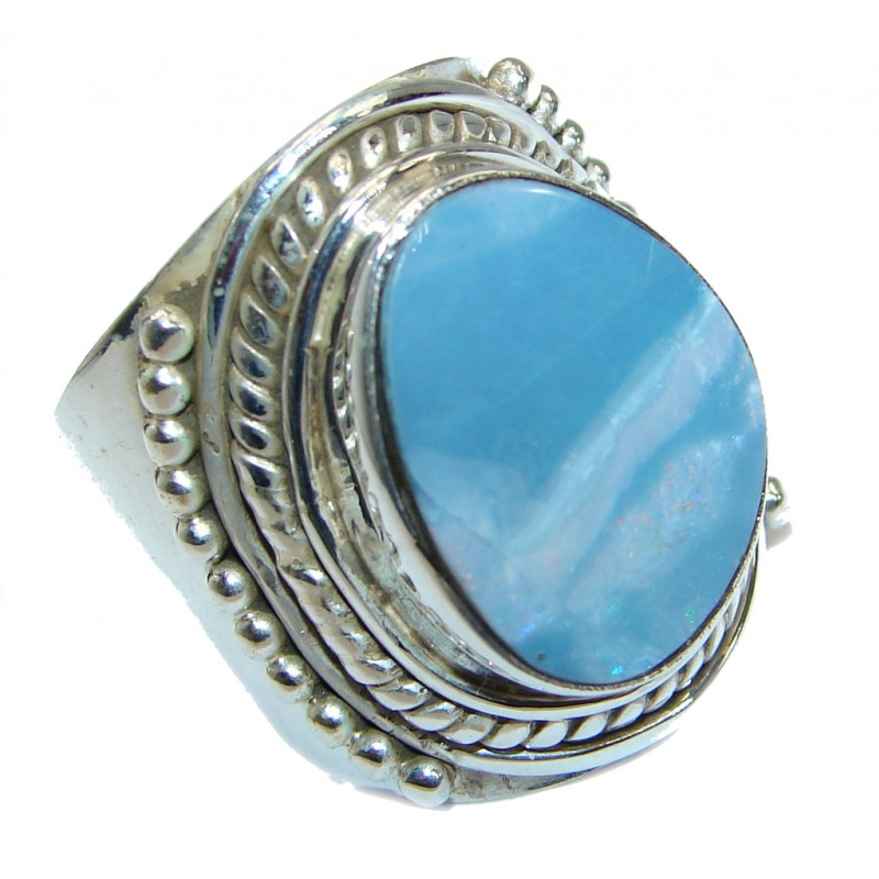 Doublet Opal oxidized .925 Sterling Silver handcrafted ring size 7