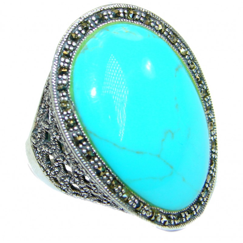 Vintage Style Turquoise .925 Sterling Silver handmade Cocktail Ring size 7 1/2