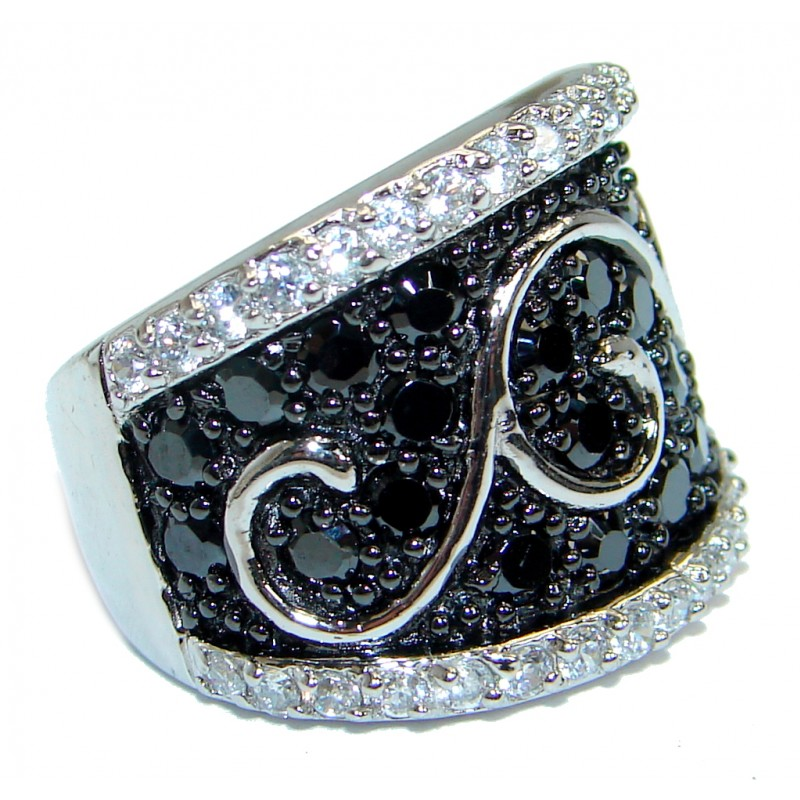Amazing AAA Black Cubic Zirconia & White Topaz Sterling Silver Ring s. 5 3/4