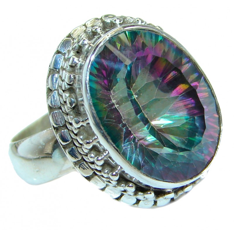 Bold Exotic Magic Topaz .925 Sterling Silver handmade Ring s. 7
