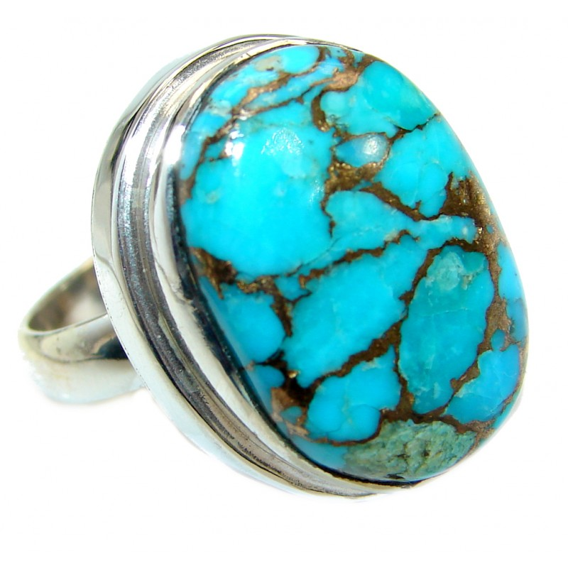 Copper Turquoise .925 Sterling Silver handmade Ring s. 7