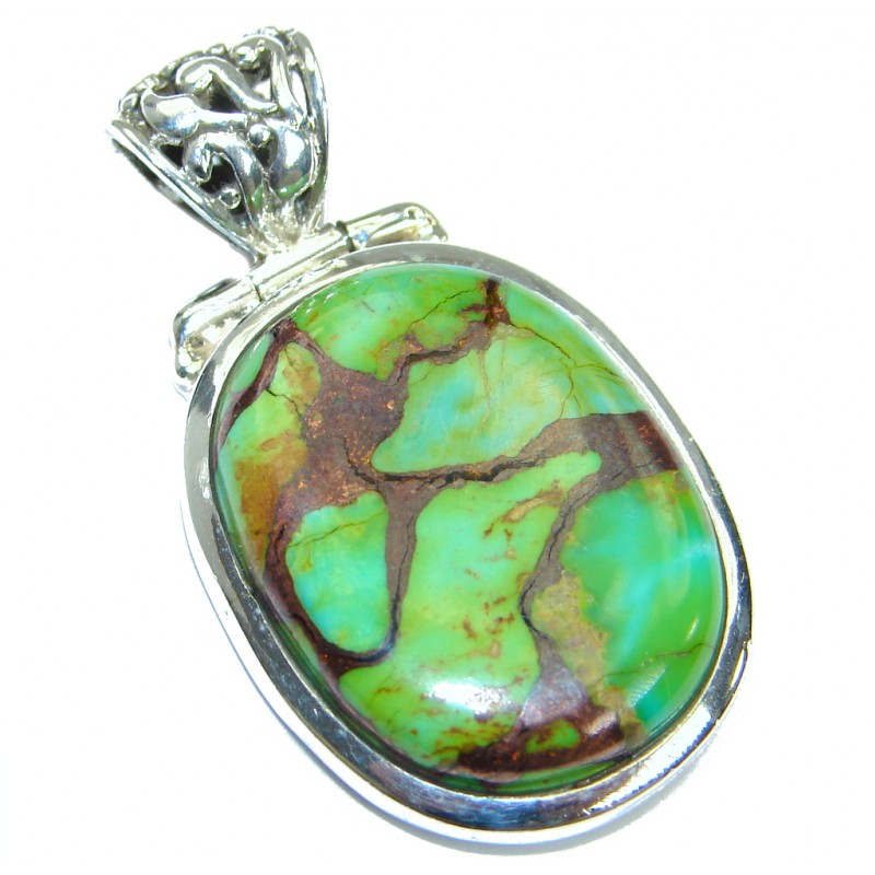 Simple Style Turquoise with copper vains .925 Sterling Silver Pendant