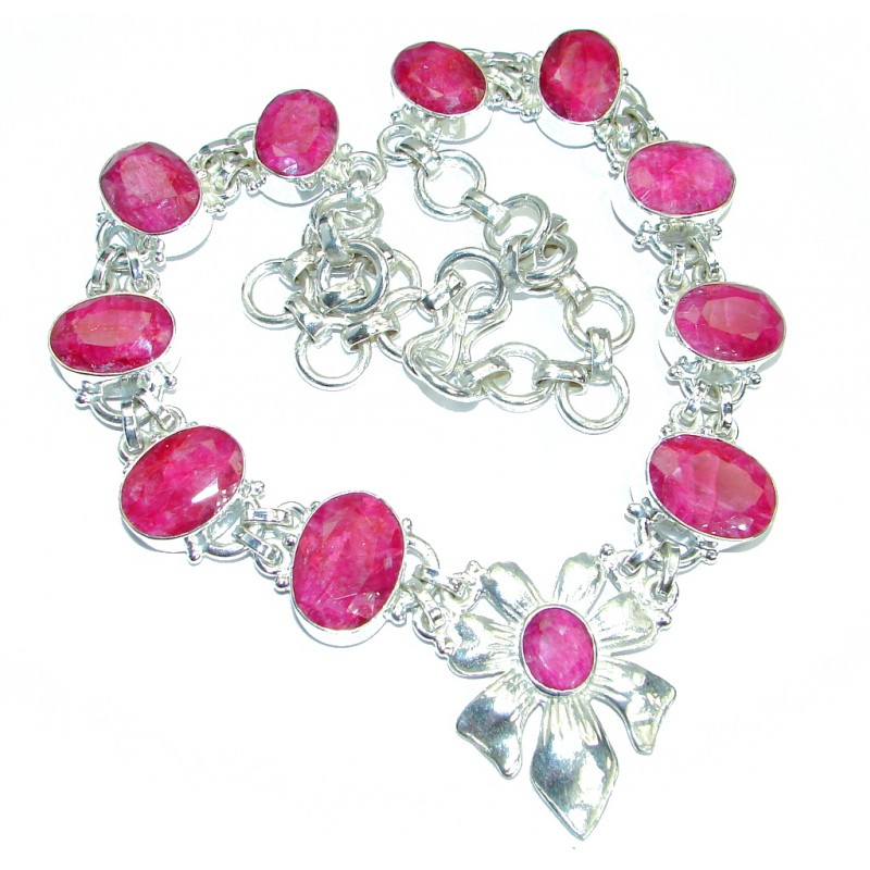 Indian Red Diadem faceted Ruby Silver Ruby necklace