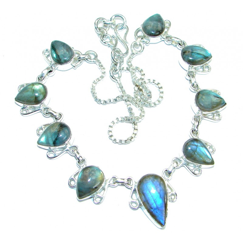 Blue Labradorite Silver Tone necklace