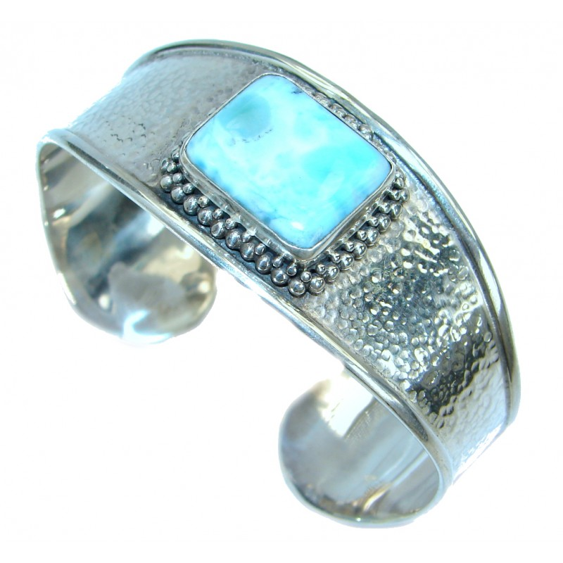 Harmony Blue Larimar .925 Sterling Silver handcrafted Bracelet / Cuff