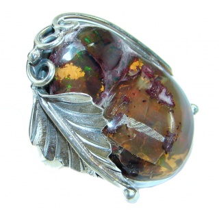 Amazing Natural Fire Agate .925 Sterling Silver ring s. 8