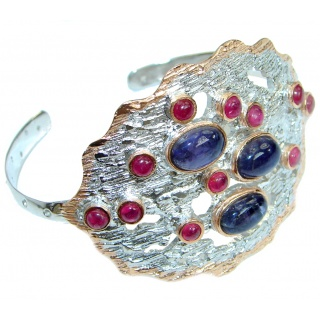 Genuine Tanzanite Ruby Rose Gold Rhodium over .925 Sterling Silver Bracelet / Cuff