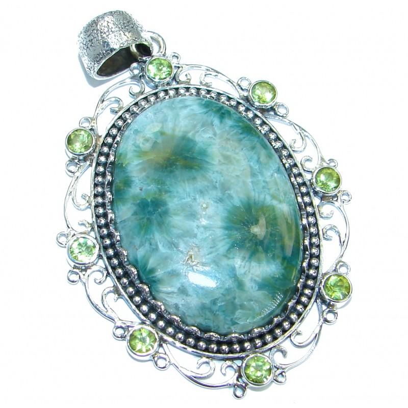 Huge One of the kind Natural Ocean Jasper .925 Sterling Silver handmade Pendant