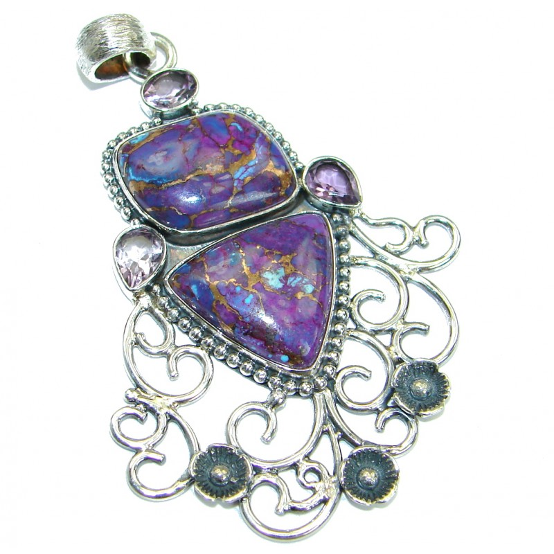 Romantic Purple Turquoise .925 Sterling Silver Pendant