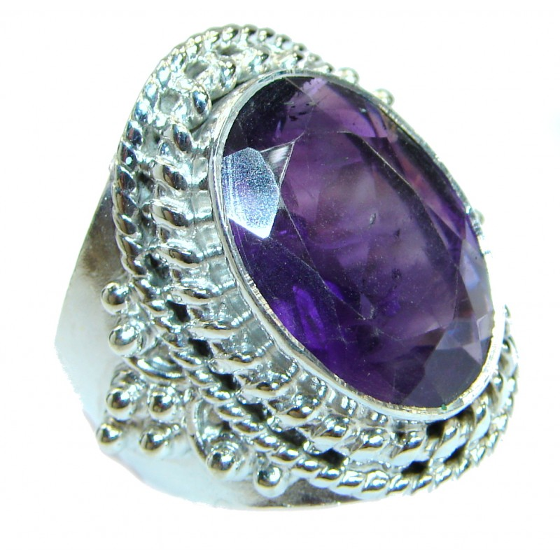 Bold Exotic Magic purple Topaz .925 Sterling Silver handmade Ring s. 10