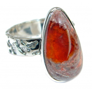 Mexican Opal oxidized .925 Sterling Silver handcrafted ring size 8 1/4