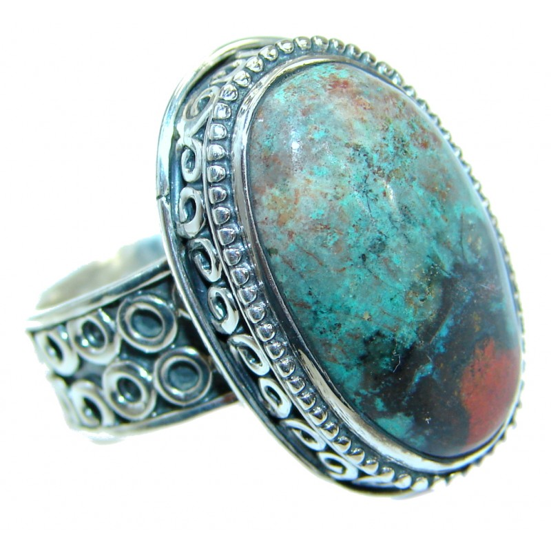 Perfect Sonora Jasper .925 Sterling Silver handcrafted Ring size 7 adjustable